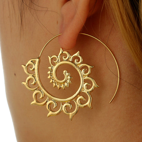 docona Punk Gold Sliver Hollow Spiral Dangle Earrings Women Ladies Tribal Gear Earring Circle Ear Festival Jewelry 4755