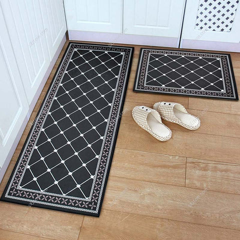 Nordic Flannel Grid Doormat Soft Plush Carpet Kitchen Floor Mat Anti Slip Entrance Rug Welcome Door Mat Outdoor