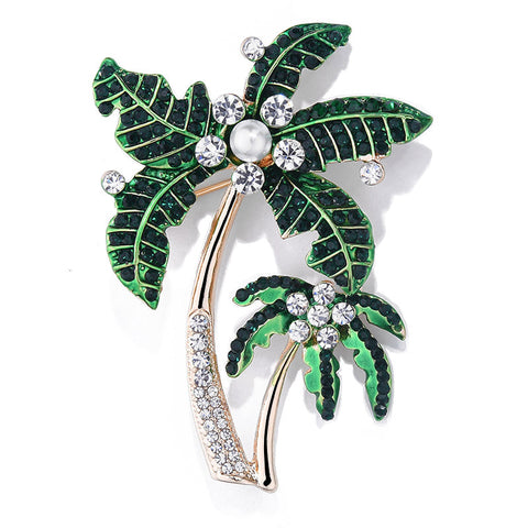 Classic Green Enamel Coconut Tree Brooches For Uni Fashion Rhinestone Crystal Simulated-pearl Plants Party Banquet Brooch
