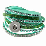 10Colors Multi-layer Wrap Velvet Leather Bracelet Bling Crystal Bracelet With 18mm Snap Button Clasp Bangles Couple Snap Jewelry