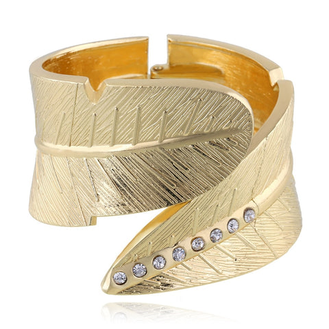 Top Quality Unique Open Leaf Cuff Bracelet Bangles for Women Channel CZ Setting Bracelet Femme Jewelry Birthday Gifts BR-03201