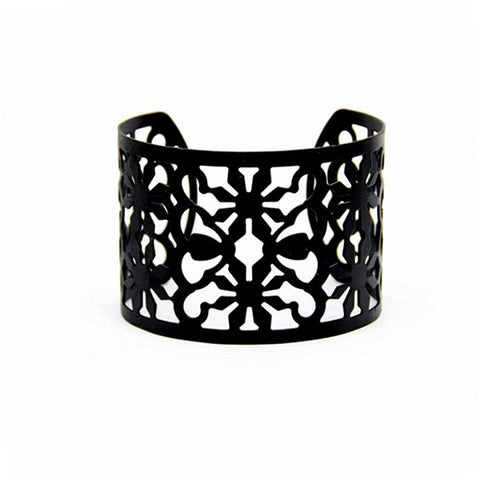 Bracelet Bangles For Women Punk Plating Black Geometry Irregular Snowflake Pattern Cuff Bracelets Bangles Pulseras Jewelry