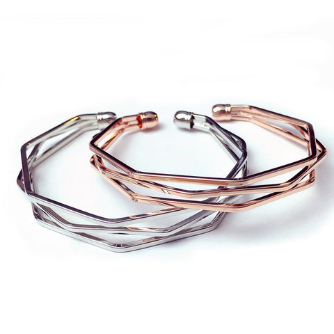 QCOOLJLY new brand Vintage Punk Bracelets & Bangles Women Jewelry multilayer Geometry Hollow out Cuff Bracelet wholesale