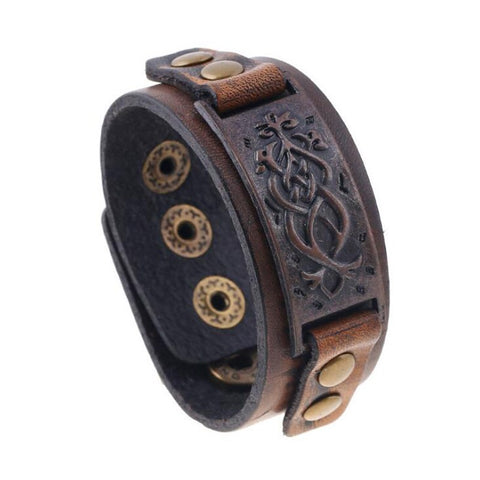New Arrival Coffee Uni Genuine Leather Cuff Bracelet Retro Wide Leather Bracelet For Women Men Gifts