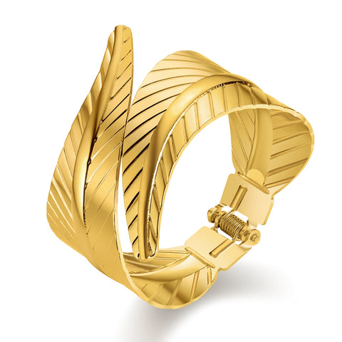 JUST FEEL Leaf Plants Fashion Gold Color Cuff Bracelets & Bangles for Women Men Jewelry Bracelet Pulseiras Accessories