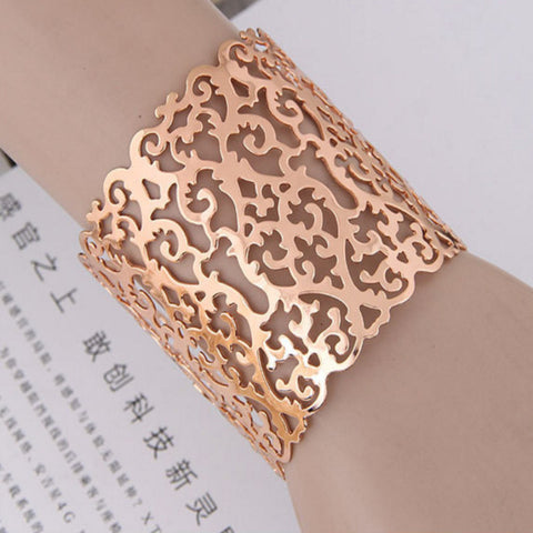 new brand Vintage Punk Bracelets & Bangles Women Jewelry Rose Gold Color Hollow out Cuff Bracelet wholesale