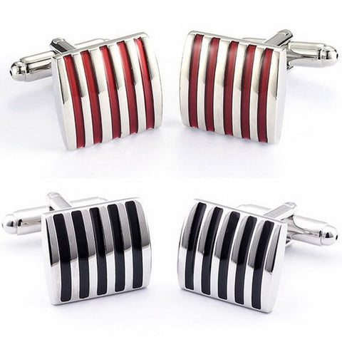 1pair Black/Red Cufflinks For Men Jewelry High Quality Hot Sale Classic Stripe Square Men Cuff Links Wedding Mens Custom P