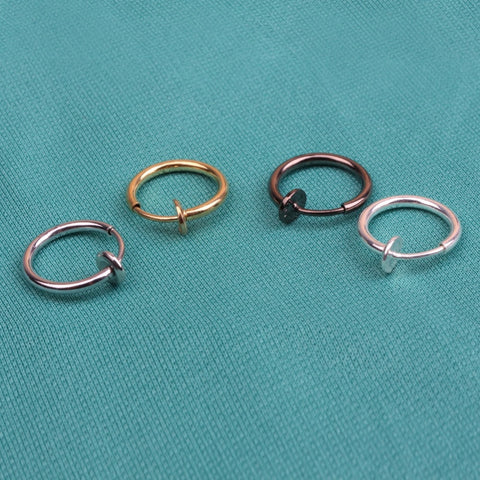 1Pcs 13mm Fashion Punk Clip On Nose Lip Hoop Rings Earrings 4 Colors ping