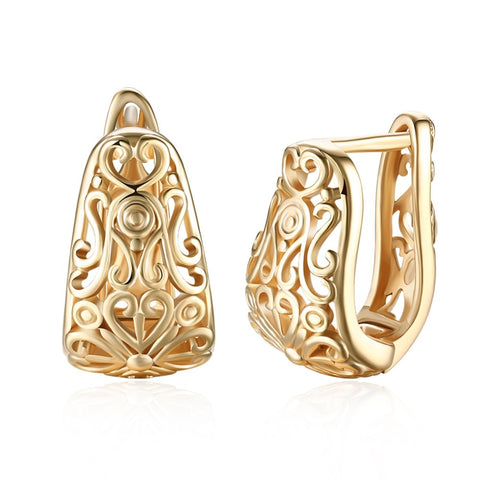 Marcatsa Hollow heart-shaped clip Earrings For Women gold color Pattern earring Party stud Ear for girl jewelry gift