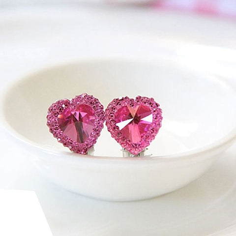 Heart Rhinestone Kids Girls Fashion Ear Clips Jewelry No Pierced Earrings Gift