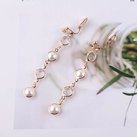 JIOFREE Fashion New Luxury Shiny Rhinestone Pearl Clip on Earrings for Women Statement Jewelry Brincos Wedding Party Gift