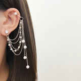 JZTOP Fashion Crystal Simulated Pearl Multilayer Chain Tassel Ear Bone Clip Earrings For Women Long Pendiente Charm Jewelry