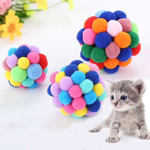 2018 New Pet Cat Toy Colorful Handmade Bells Bouncy Ball Built-In Catnip Interactive Toy #NE816