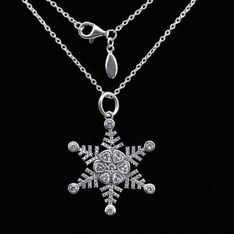 New 925 Silver Necklace Snowflake With Clear Cubic Zirconia Necklaces For Women For Women Wedding Gift Fine Jewelry