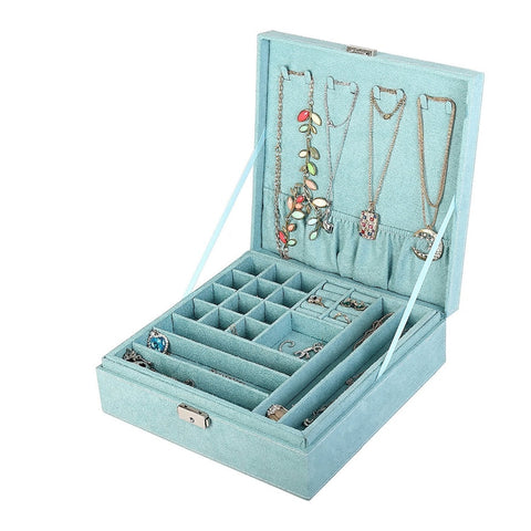 Blue two-layer lint jewelry box organizer display storage case with lock