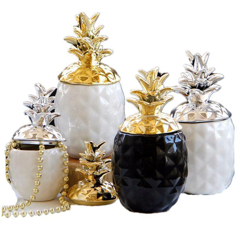 Ceramic Pineapple Figurines Black White Pineapple Storage Box 6'' 8''