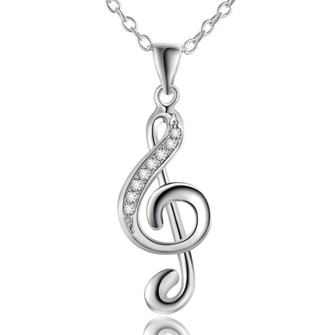 New silver plated jewelry girl favorite Christmas gifts creative lovely inlaid stone music notation pendant necklace LN011