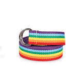 Fashion Unisex Rainbow Plain Webbing Men  Waist Belt Waistband Casual Canvas Belt Alloy Circle Thin Strap
