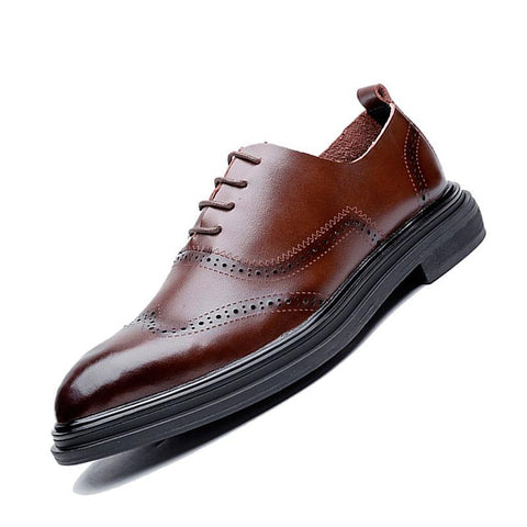 Genuine Leather Dress Men Shoes Lace Up Business Wedding Formal Flats