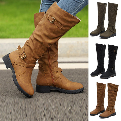 High Quality Womens Shoes Knee High Calf Biker Boots Ladies Zip Punk Military Combat Army Boots Lace Up Winter Boots Female #C12