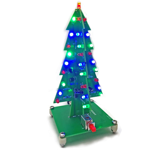 3D Color Christmas Tree LED Flash Light DIY Kit Colorful LED Flash Circuit Parts Electronic Fun Suite Christmas Gift