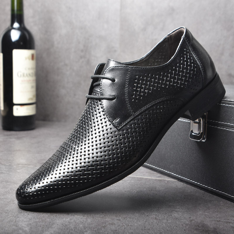 625b15c3296 OSCO Summer Fashion Formal Men Shoes Punch Lace Breathable Hollow Business  Dress Shoes Genuine Leather Casual