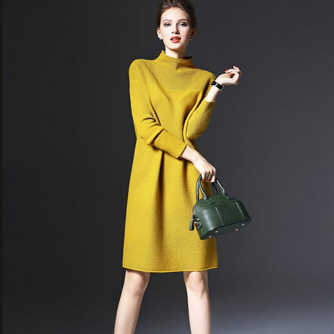 Plus Size Long Sleeve Women Dress Fashion 2018 New Turtleneck Vintage Dress Knitted Dress Office Lady Female Vestidos Drop Ship