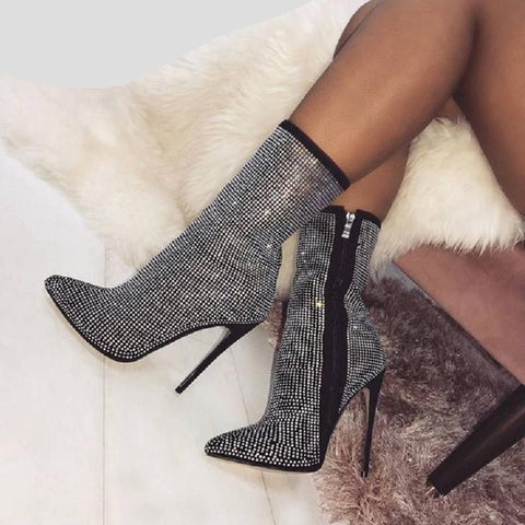 Ankle Boots High Heels Shoes for Woman