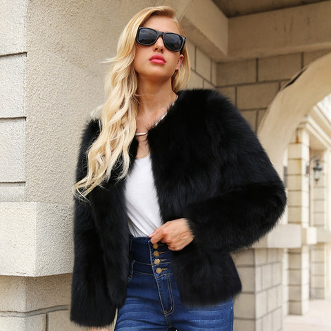 New Women Autumn Winter Short Faux Fur Coats Long Sleeve O-Neck Solid Black Casual Slim Thick Warm Jackets Size Plus 3XL 6Q2146