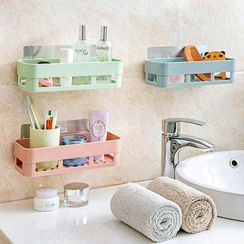 LanLan Bathroom Shelf Adhesive Badkamer Rek Storage Rack Corner Shower Shelf Kitchen Home Decoration Bathroom Accessories