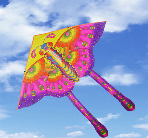 50CM Nylon Rainbow Butterfly Kite Outdoor Foldable Children's Kite Stunt Kite Surf without Control Bar and Line