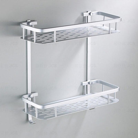 1/2 Tiers Aluminium Bathroom Shower Bath Holder For Shampoos Shower Gel Kitchen Home Balcony Shelf Hanging Storage Rack