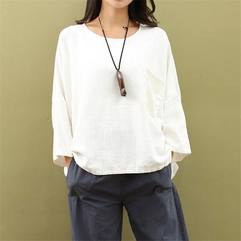 Women T shirt Spring Original Cotton Linen Women's Clothing Loose Large Size Women's Shirt Linen Shirt Bottoming T-shirt SA129