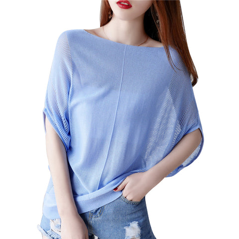 New Loose Large Size Bat Shirt 2018Women's Clothing Summer Hot Fashion Shoulder Sexy Candy Color Shirt Women Sun Women Tops Tees