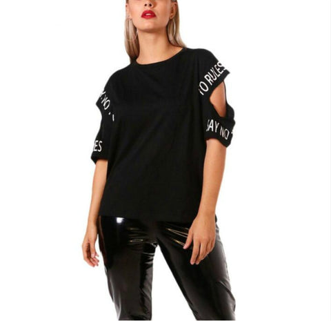 plus size hollow T-shirt women's large size Letter Printed o-neck Women's clothing large sizes casual women's tops