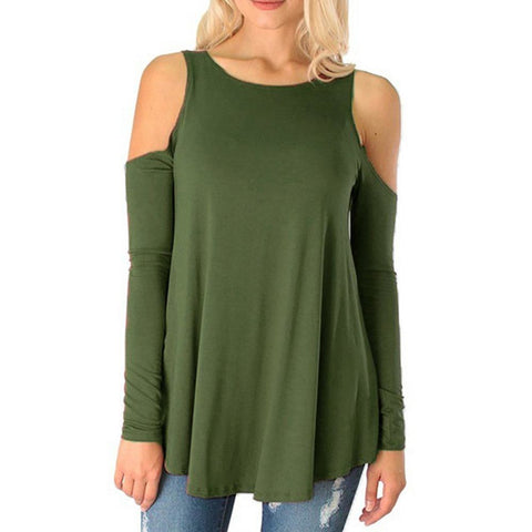 2018 New Fashion Autumn T-shirt Pure Color Strapless Long-sleeved T-shirt Loose Tops Large Size Women's Clothing