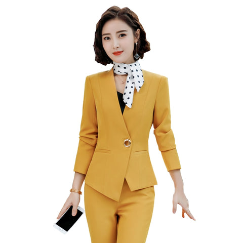 Women Fashion Blazer Pants Set Office Lady Pant Suits Business Work Jacket Female Notched Coat Solid Trosuer Large Size Clothing