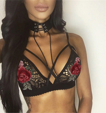 Embroidered rose bralette