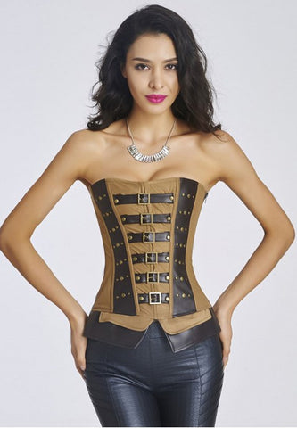 Brown leather overbust corset