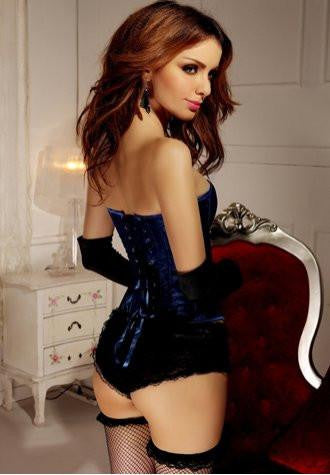 Blue Satin Tapestry Corset
