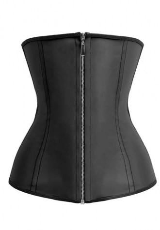 Black Latex Zipper Closure Training Corset