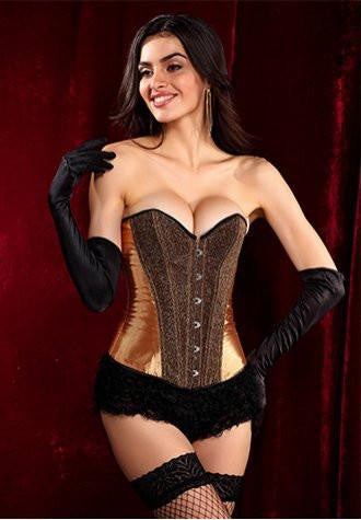 Bronze Sequins Corset Dress