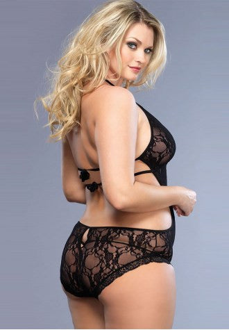 Black Plus Size Sexy Lace Teddy