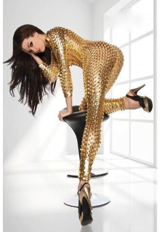 Gold leather catsuit latex body suit