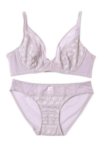 Purple See Through Floral Lace Unlined Underwire Bra and Panty Sets