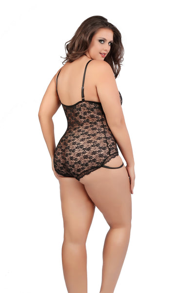 Plus Size Sexy Black Lace Teddy