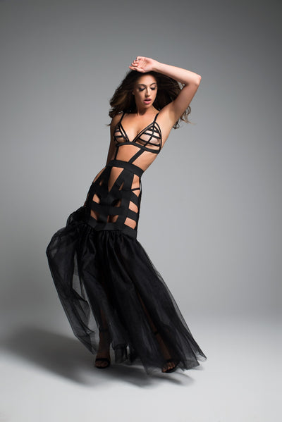 Stunning  Mermaid Lingerie Dress in Black