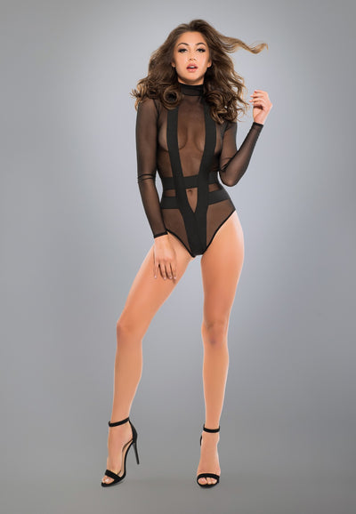 Cheeky Sheer Bodysuit in Black