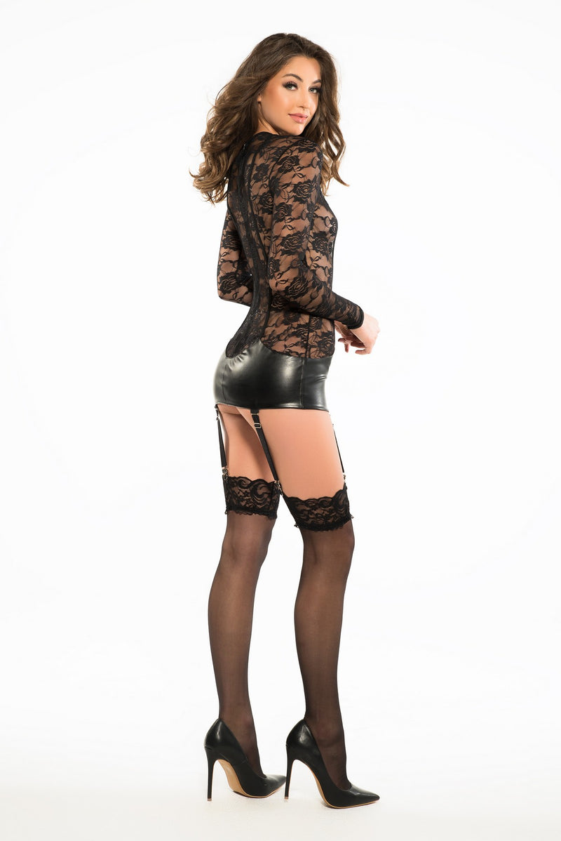 Seductive Black Lace Corselette Dress