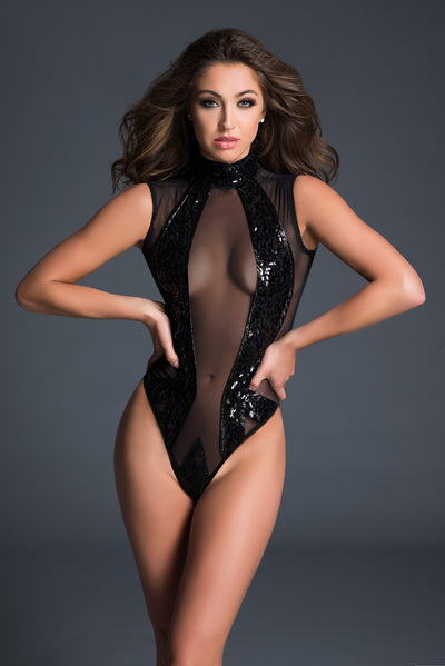 Enchanting Sequin Bodysuit Lingerie in Black